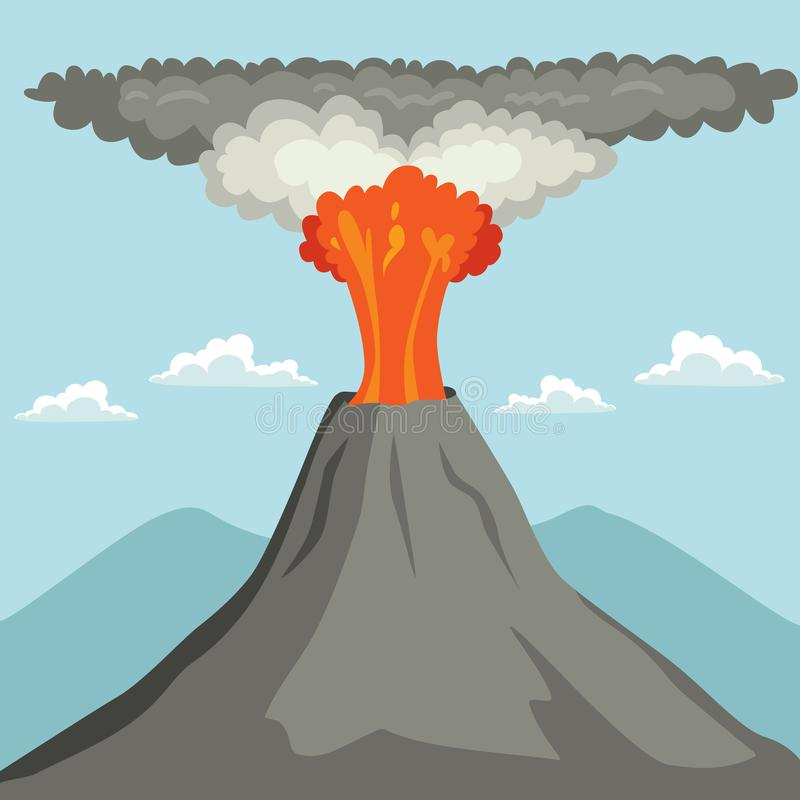få utbrott vulkan royaltyfri illustrationer