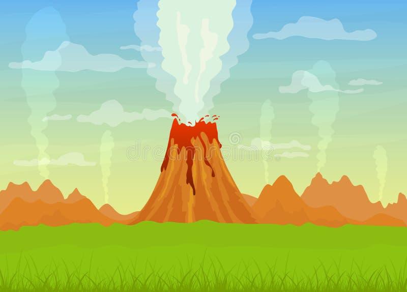 Få utbrott vulkan med lava royaltyfri illustrationer