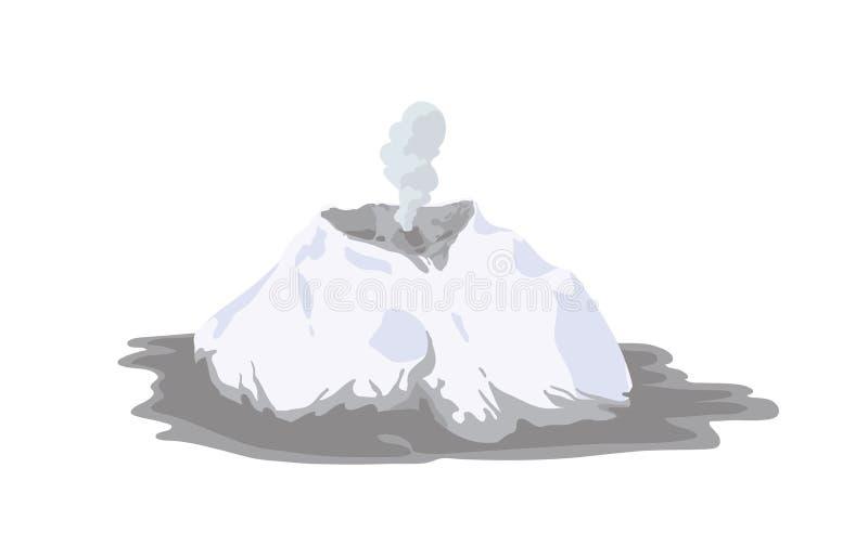 Få utbrott vulkan som täckas med snö, eller glaciären som isoleras på vit bakgrund Vulkanutbrott och seismisk aktivitet royaltyfri illustrationer