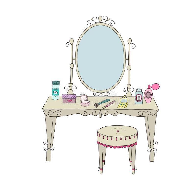 Fåfängatabell med makeup och en stol royaltyfri illustrationer