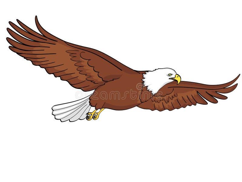 Fågelörn, falk Vektor av en retro komisk stil för efterföljd för objektbana för bakgrund clipping isolerad white royaltyfri illustrationer