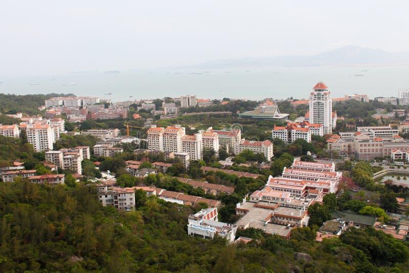 Fågel-öga sikt av den Xiamen universitetsområdet, sydostliga Kina arkivfoton