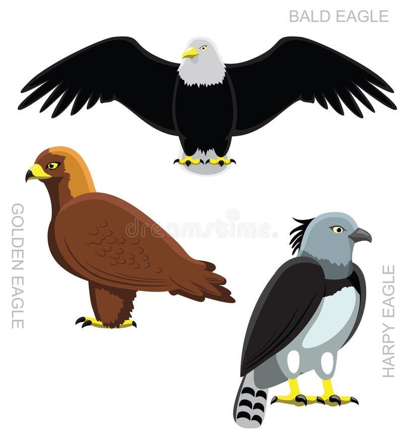 Fågel Eagle Set Cartoon Vector Illustration vektor illustrationer