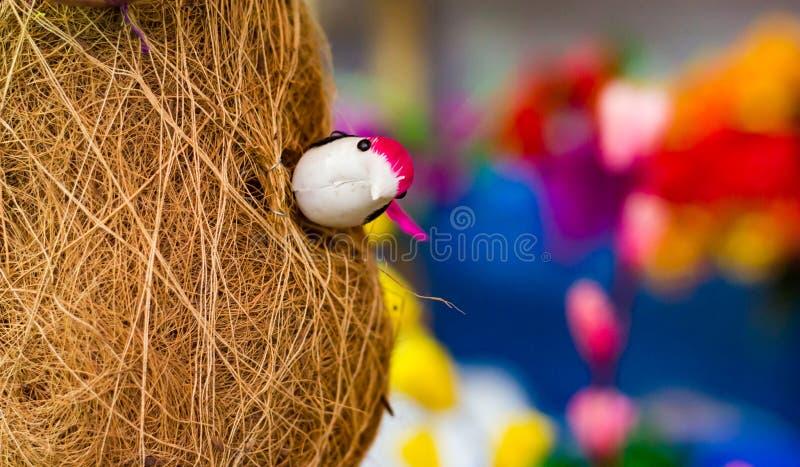 Fågel för leksakbayavävare inom dess basha för redebabuipakhi r royaltyfri bild