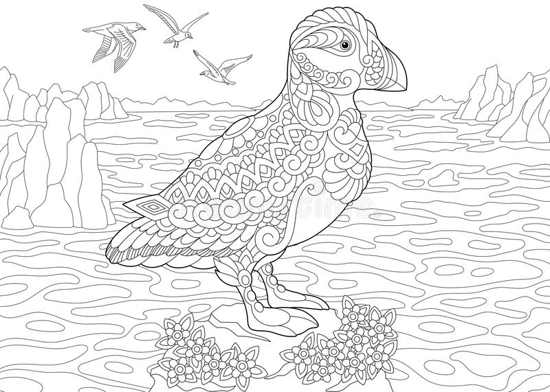 Fågel för Zentangle lunnefågelhav stock illustrationer