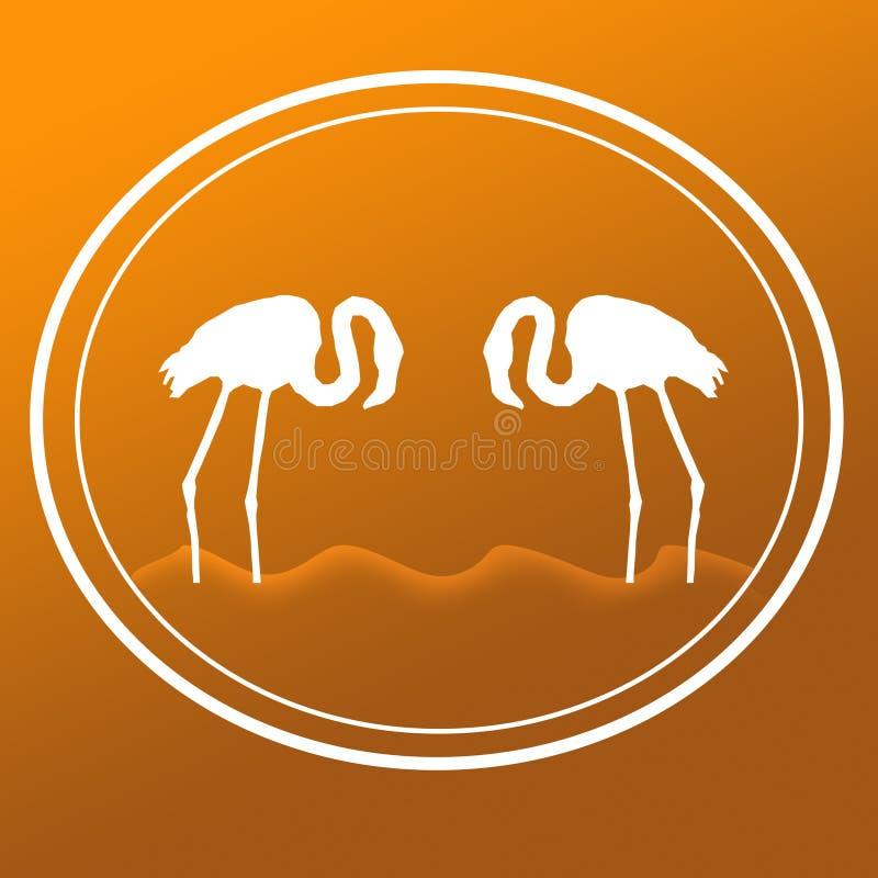 _fågel flamingo anseende för sol över hav sjö illustration bakgrund vektor illustrationer