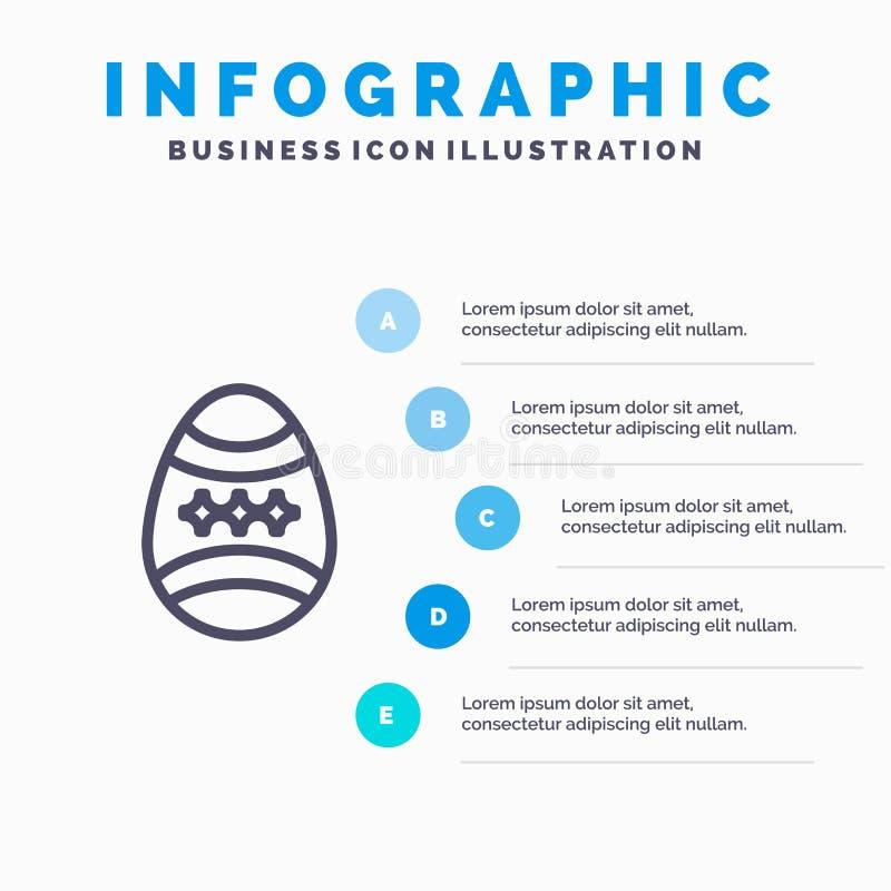 Fågel garnering, påsk, ägglinje symbol med för presentationsinfographics för 5 moment bakgrund royaltyfri illustrationer