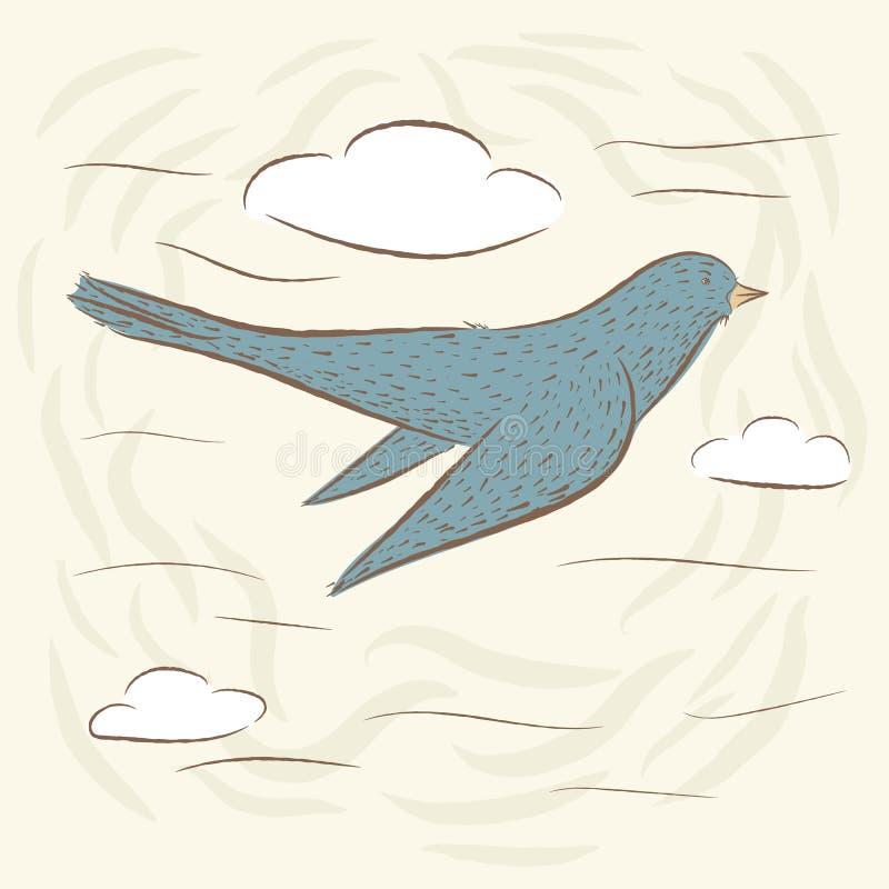Fågel i flykten, svala gulliga fåglar stock illustrationer