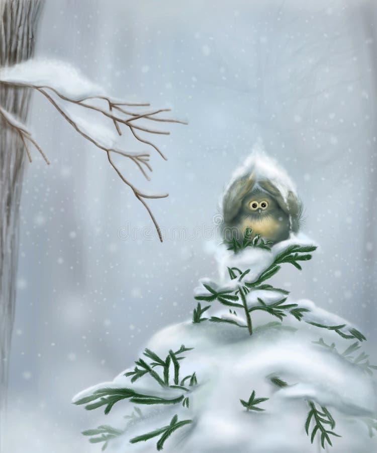 Fågel i snön vektor illustrationer