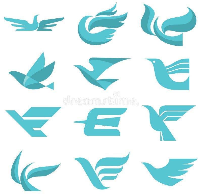 Fågel Logo Signs stock illustrationer