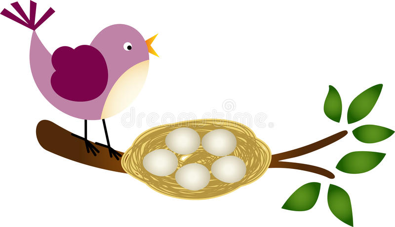 Fågel med ägg i ett rede på en filial stock illustrationer