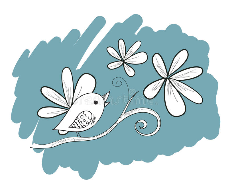 Fågel med blommor, hand dragen illustration royaltyfri illustrationer