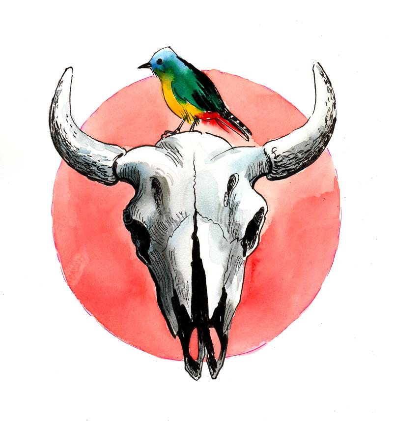 Fågel- och bisonskalle stock illustrationer