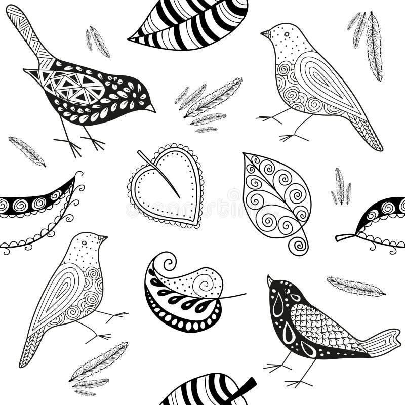 Fågel och blad för klotter för vektorseamles patern royaltyfri illustrationer