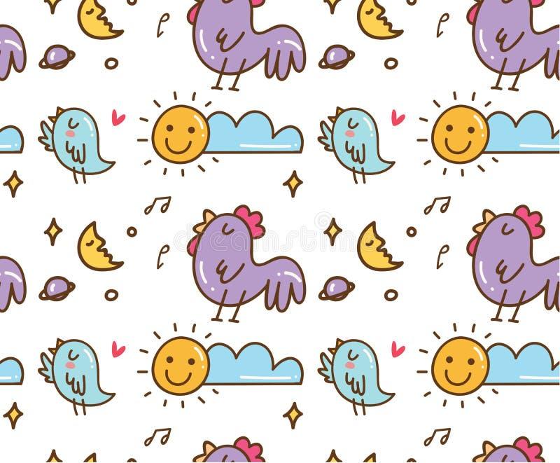 Fågel och höna som sjunger i den sömlösa bakgrunden för morgon vektor illustrationer