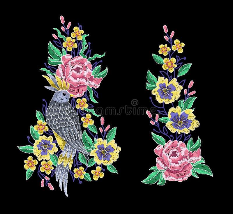 Fågel och pionblommabroderi stock illustrationer