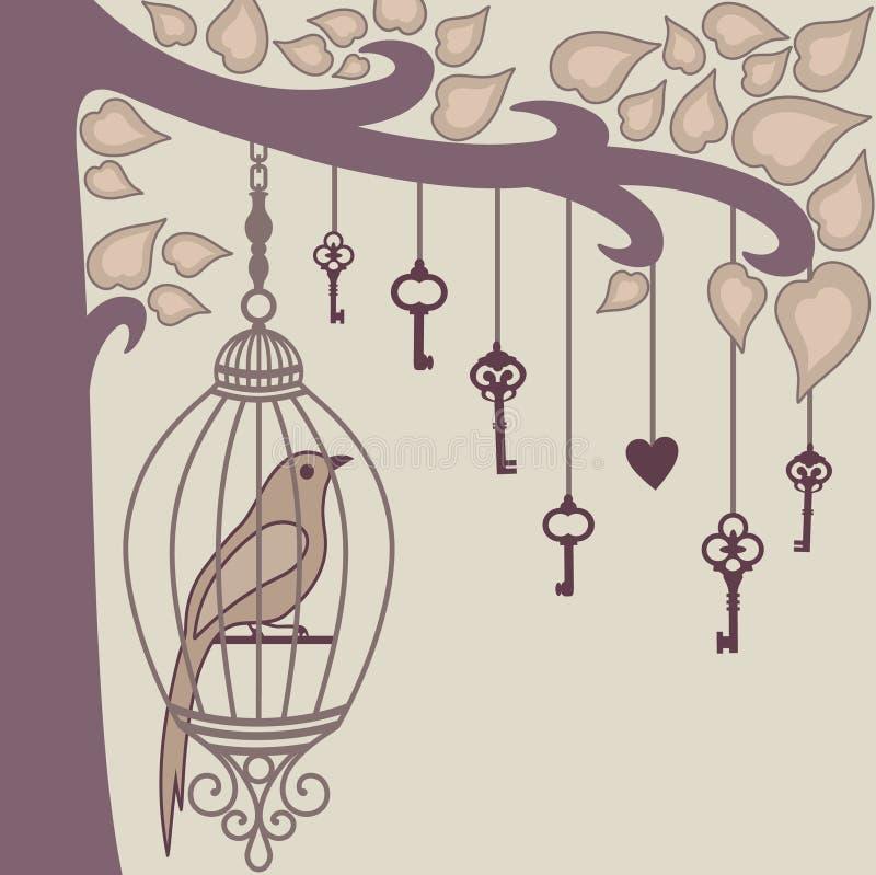 Fågel-och-tangent-från-honom `- s-bur royaltyfri illustrationer
