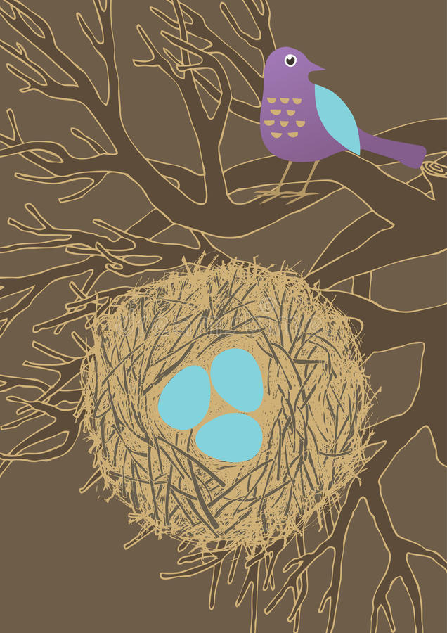Fågel, rede och tre ägg vektor illustrationer