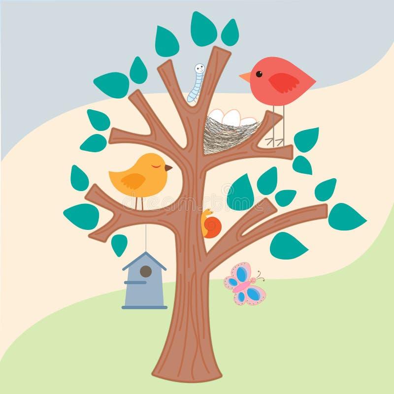 Fågel, rede och voljär på trädet stock illustrationer