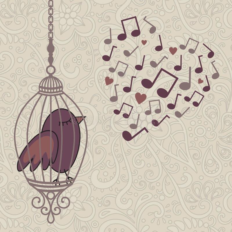 Fågel-sjunga-i--bur stock illustrationer
