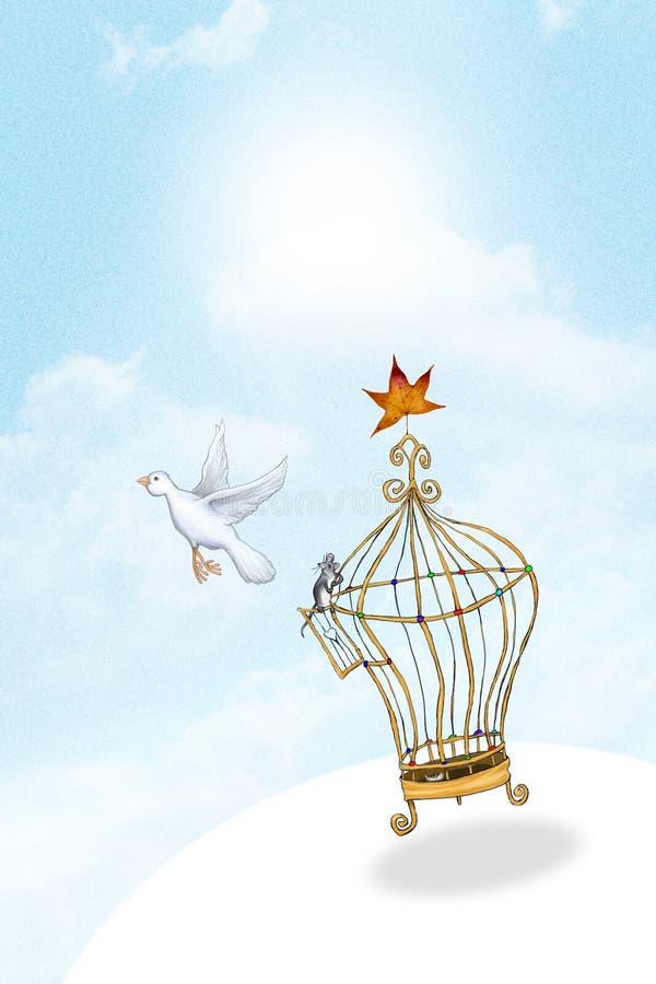 Fågel som är utsläppt från bur vektor illustrationer