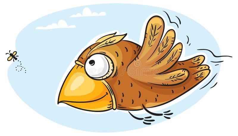 Fågel som fångar flugan royaltyfri illustrationer