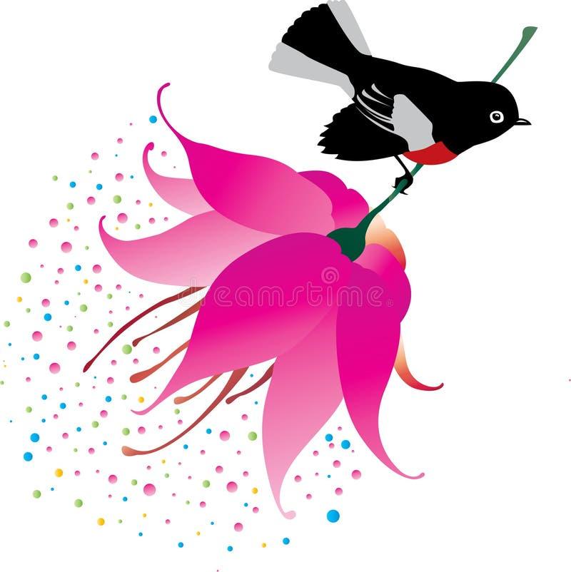 fågelblommasitting royaltyfri illustrationer