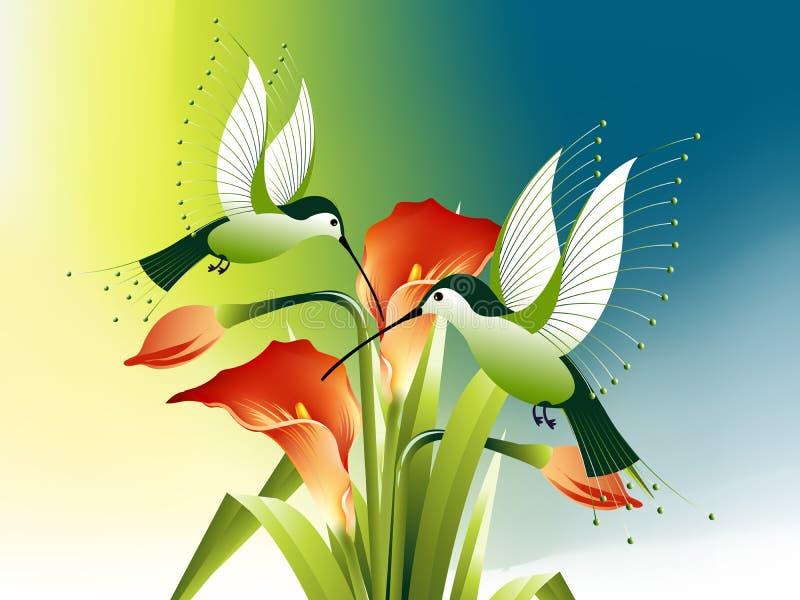 fågelblommor som surr stock illustrationer