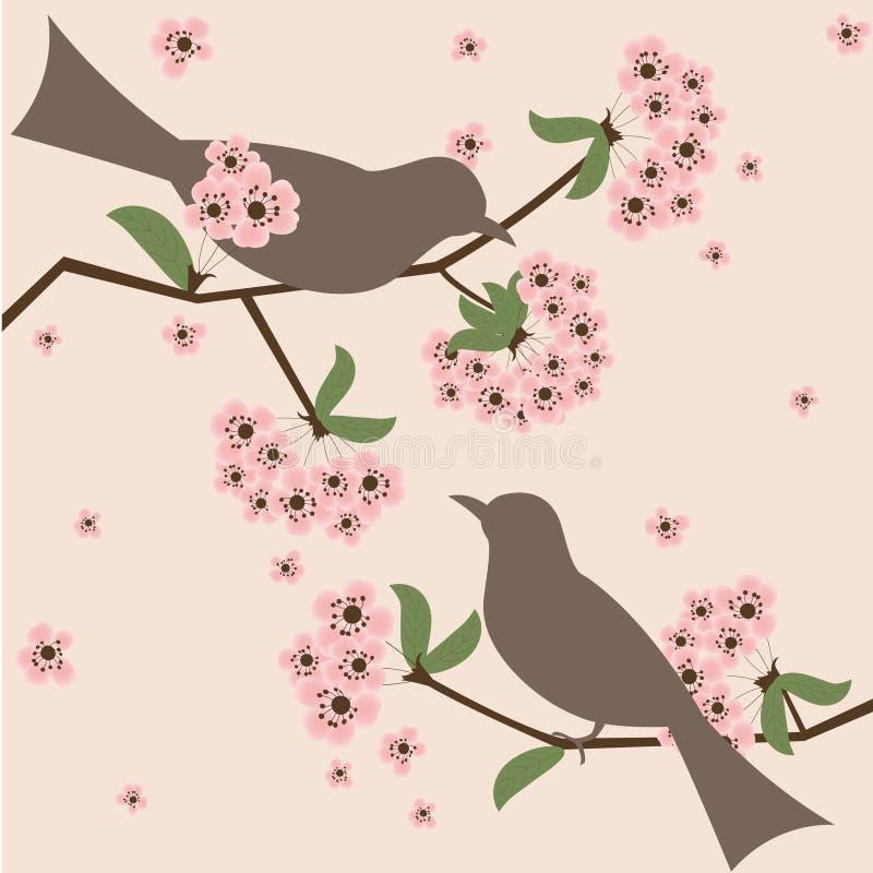 fågelblomning royaltyfri illustrationer