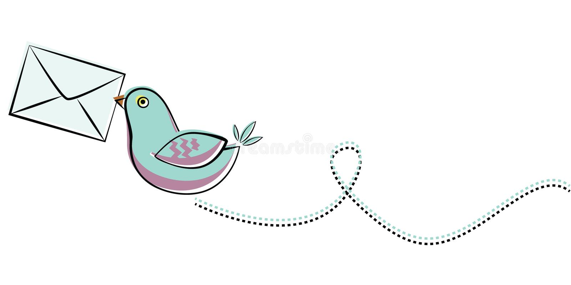 fågelbluebokstav royaltyfri illustrationer