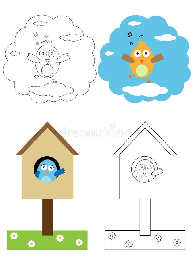 fågelbokfärgläggningen lurar sidan vektor illustrationer