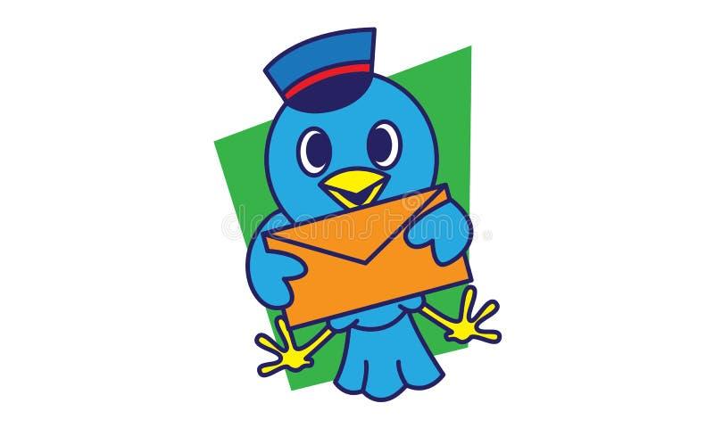 Fågelbrevbärare royaltyfri illustrationer