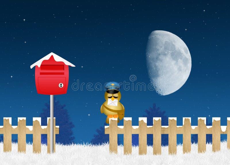 Fågelbrevbärare med bokstaven av Santa Claus royaltyfri illustrationer