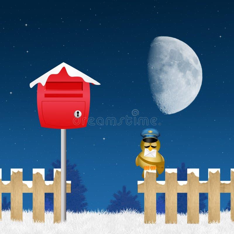 Fågelbrevbärare med bokstaven av Santa Claus vektor illustrationer