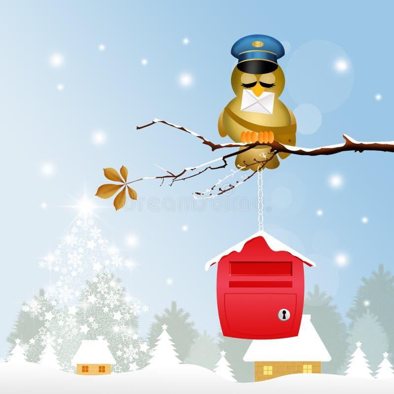 Fågelbrevbärare på jul stock illustrationer
