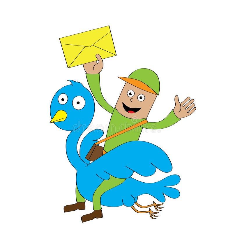 fågelbrevbärareridning vektor illustrationer