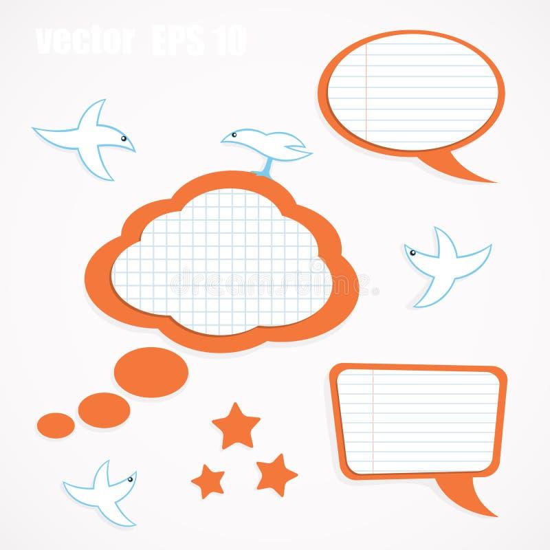 fågelbubblaanförande royaltyfri illustrationer