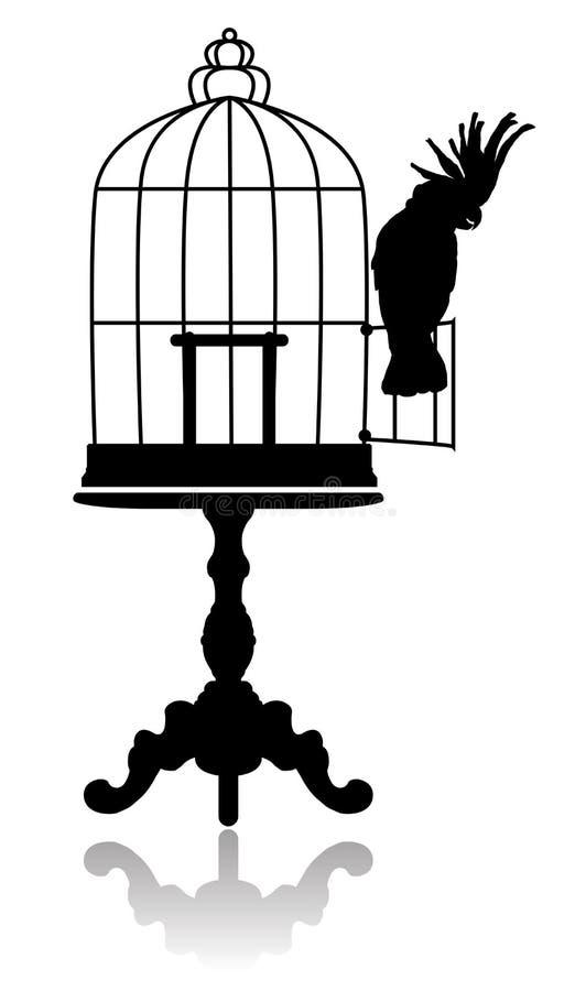 fågelbur stock illustrationer