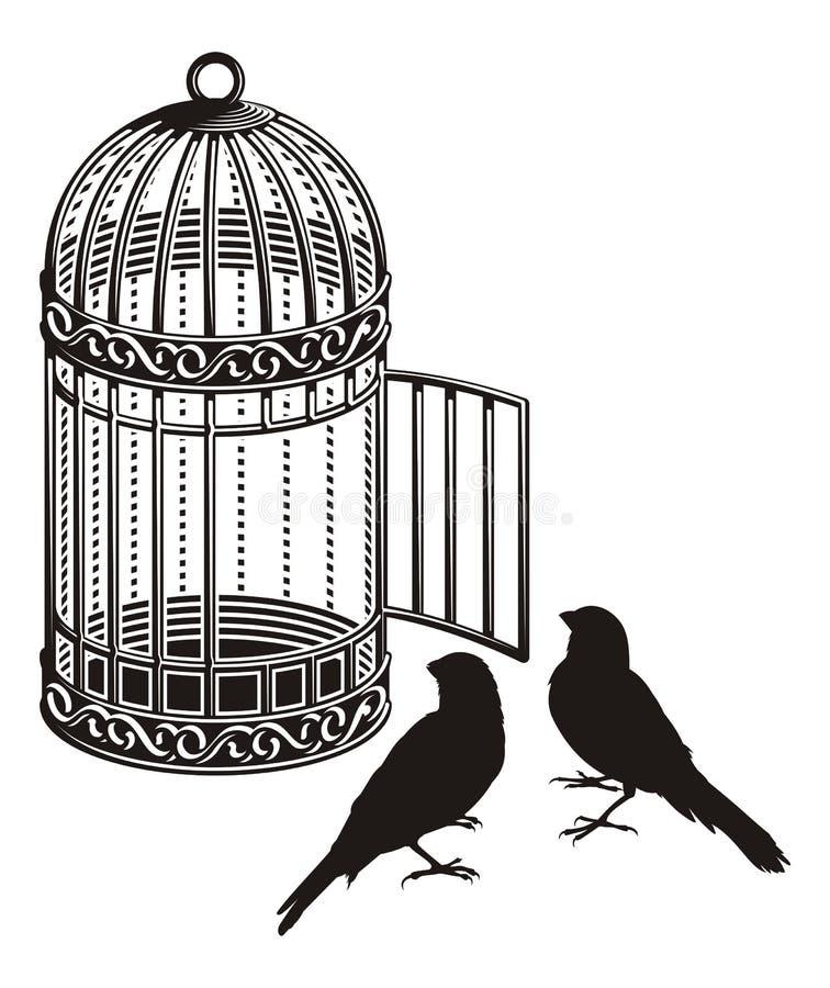 fågelbur vektor illustrationer