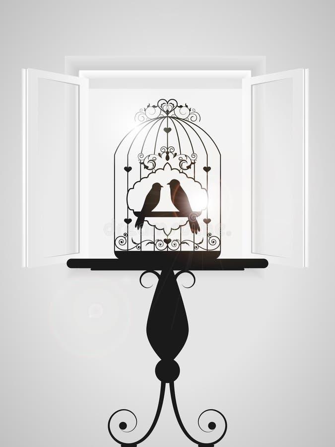 fågelbur royaltyfri illustrationer
