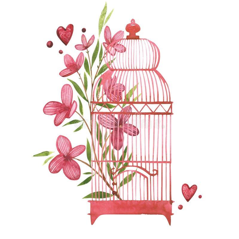 Fågelbur med blommor Vattenfärgrosa färguppsättning av beståndsdelar för dag för valentin` s Denna är mappen av formatet EPS8 typ vektor illustrationer