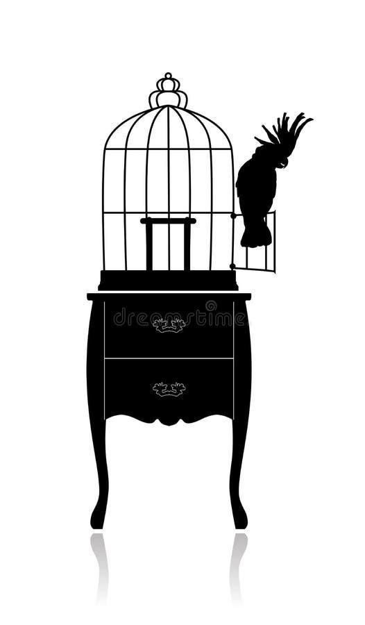 Fågelbur och papegoja royaltyfri illustrationer