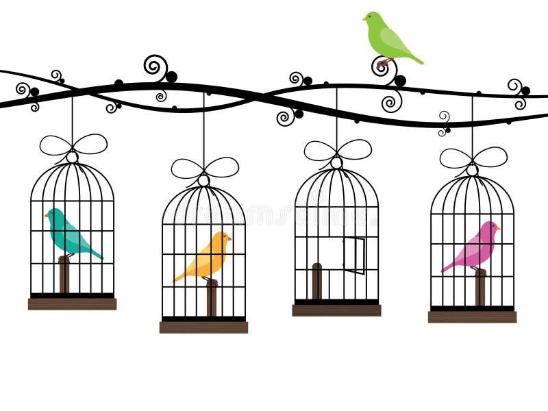 fågelburar stock illustrationer