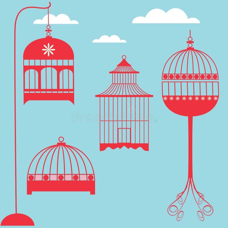 fågelburset stock illustrationer