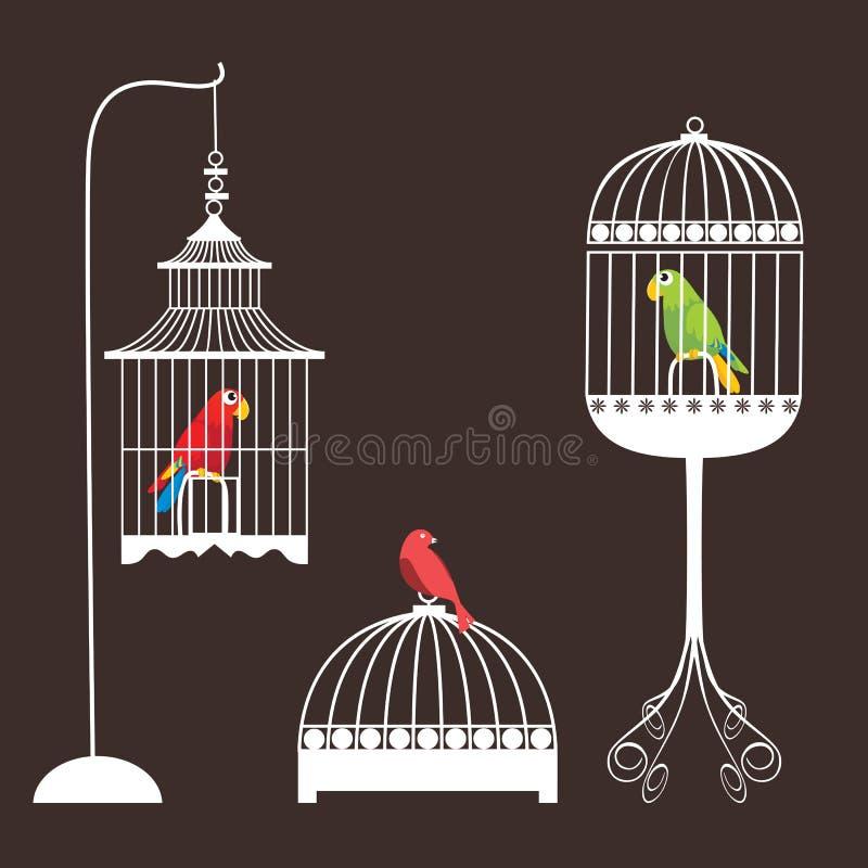 fågelburset vektor illustrationer
