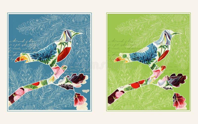 fågelcollage planlägger två royaltyfri illustrationer