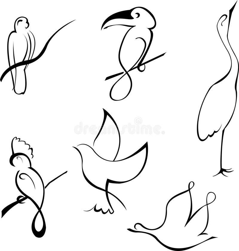FågeldesignSet royaltyfri illustrationer