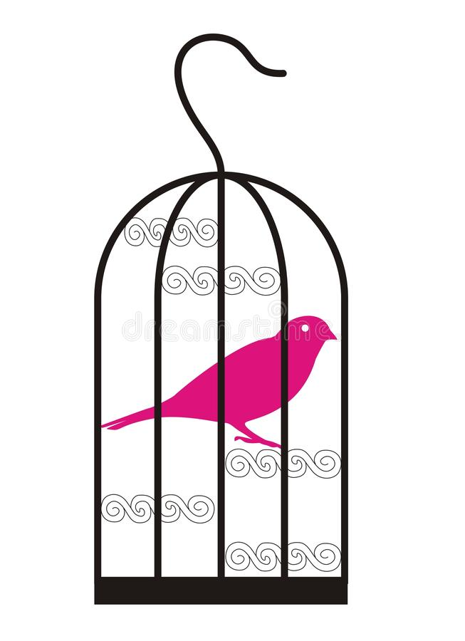 fågelfågelbur stock illustrationer