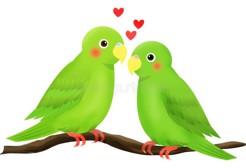 fågelförälskelse royaltyfri illustrationer