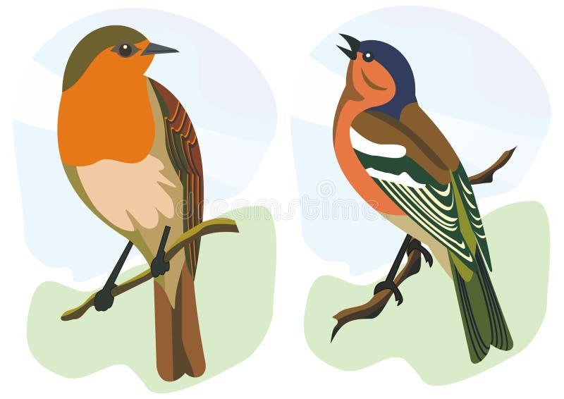 fågelfinchrobin royaltyfri illustrationer
